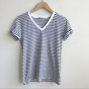 T by Alexander Wang Cotton Striped V-Neck